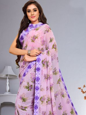 Purple Abstract Print Weight Less Saree