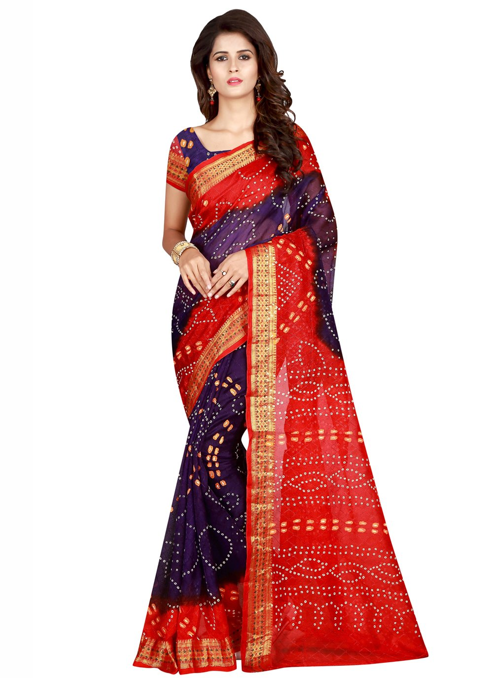 Purple and Red Art Silk Printed Designer Traditional Saree