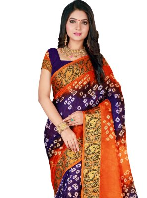 Purple and Rust Traditional Designer Saree