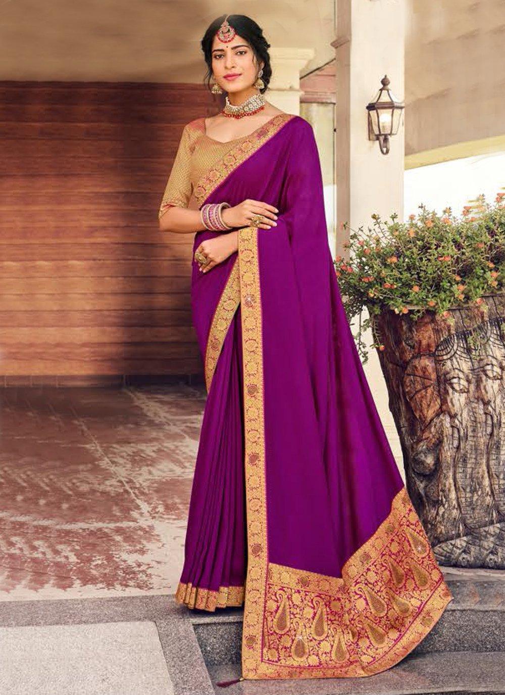 Purple Art Silk Patch Border Designer Traditional Saree