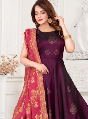 Purple Art Silk Readymade Suit