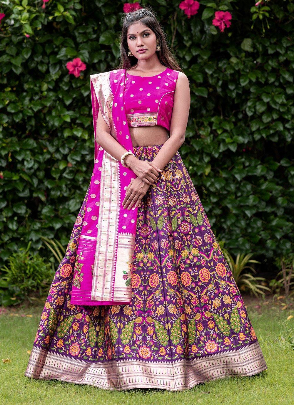 Purple Banarasi Silk A Line Lehenga Choli