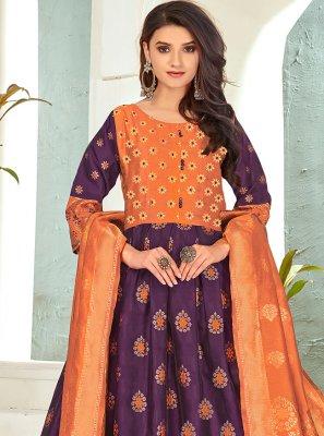 Purple Banarasi Silk Anarkali Salwar Suit