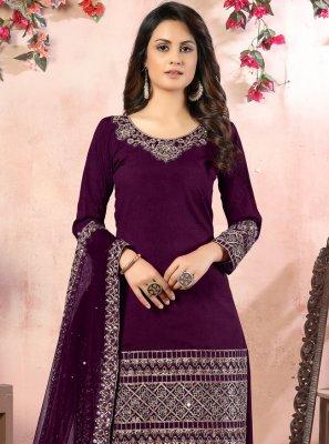 Purple Ceremonial Art Silk Designer Patiala Suit