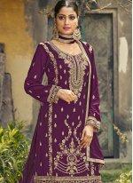 Purple Ceremonial Designer Palazzo Salwar Kameez