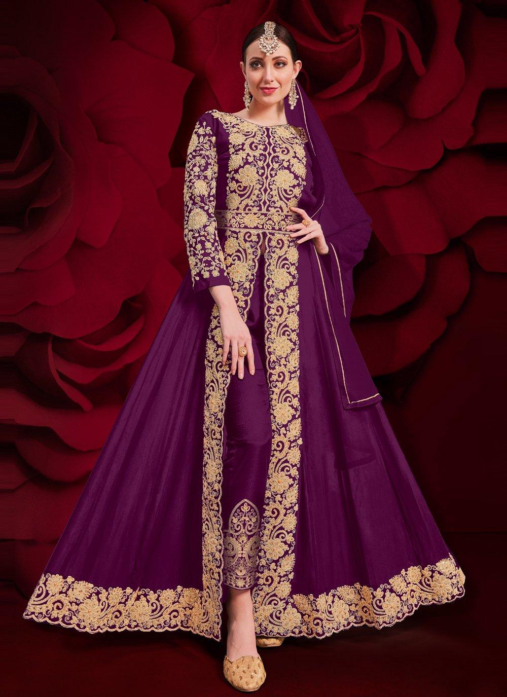 Purple Ceremonial Faux Georgette Anarkali Suit
