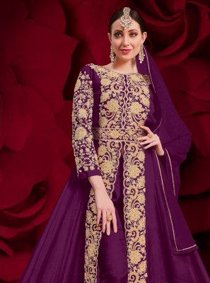 Purple Ceremonial Faux Georgette Anarkali Suit
