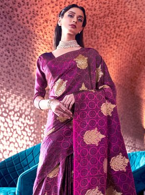 Purple Ceremonial Nylon Designer Traditional Saree