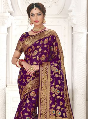 Purple Ceremonial Silk Designer Traditional Saree