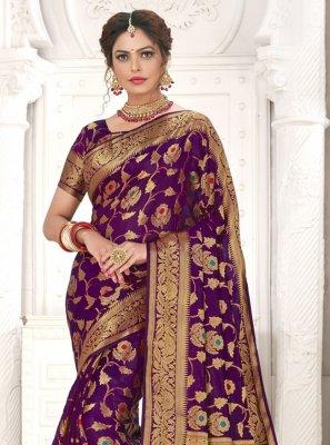 Purple Ceremonial Silk Designer Traditional Saree