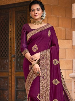 Purple Chanderi Festival Traditional Designer Saree