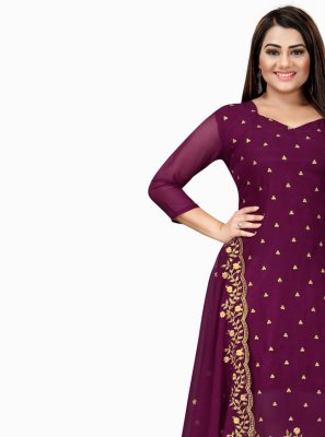Purple Color Churidar Designer Suit