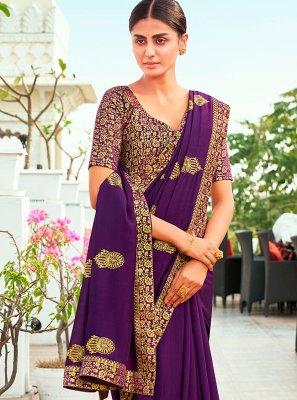 Purple Color Designer Traditional Saree