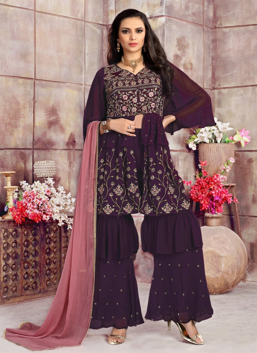 Purple Color Readymade Suit