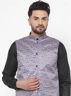 Purple Cotton Satin Printed Nehru Jackets