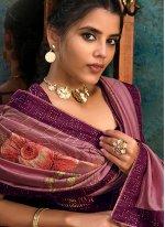 Purple Digital Print Silk Classic Designer Saree