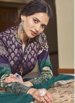 Purple Embroidered Ceremonial Readymade Anarkali Suit