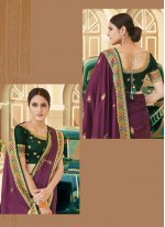 Purple Embroidered Ceremonial Traditional Saree