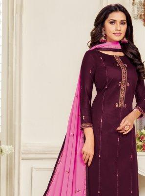 Purple Embroidered Churidar Designer Suit