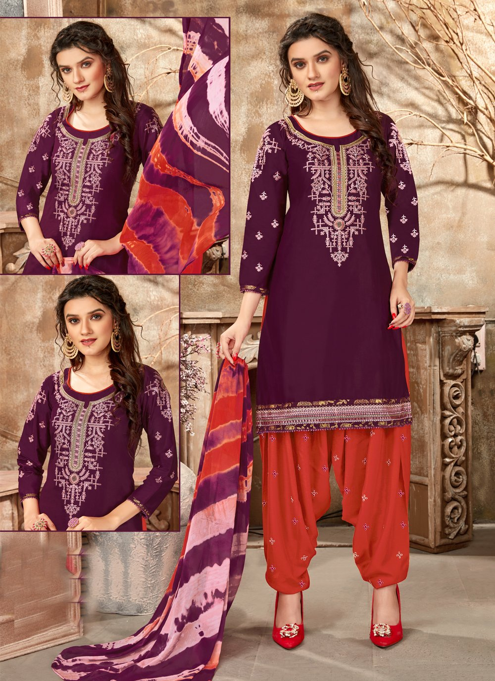 Purple Embroidered Cotton Designer Patiala Suit