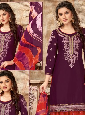Purple Embroidered Cotton Designer Patiala Suit