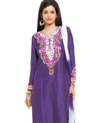 Purple Embroidered Cotton Silk Readymade Salwar Kameez
