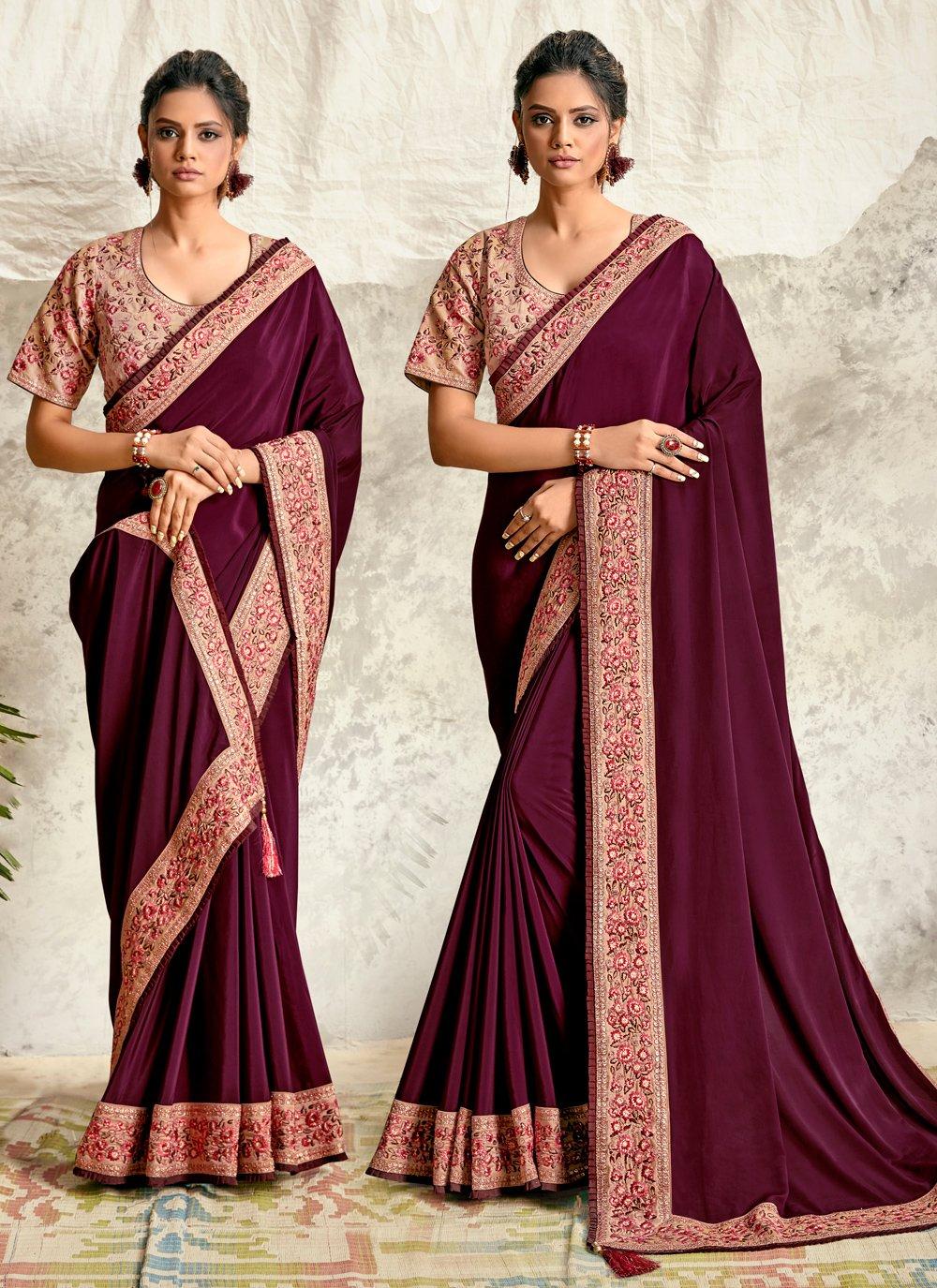 Purple Embroidered Crepe Silk Traditional Designer Saree