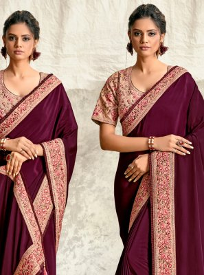 Purple Embroidered Crepe Silk Traditional Designer Saree