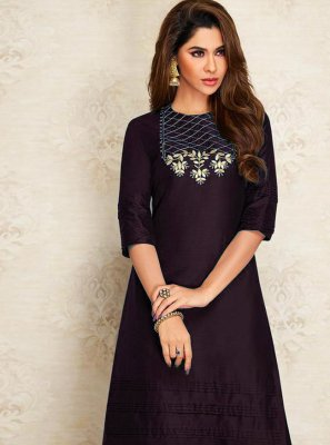 Purple Embroidered Designer Kurti