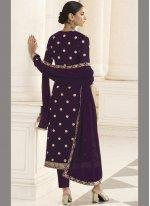 Purple Embroidered Designer Pakistani Salwar Suit