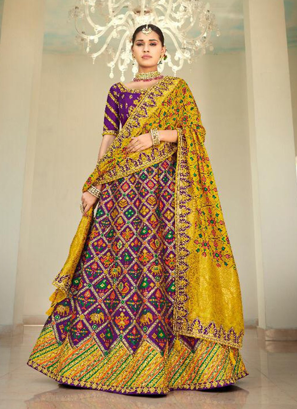 Purple Embroidered Engagement Lehenga Choli