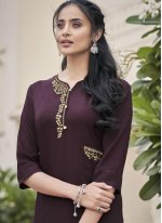 Purple Embroidered Fancy Fabric Party Wear Kurti