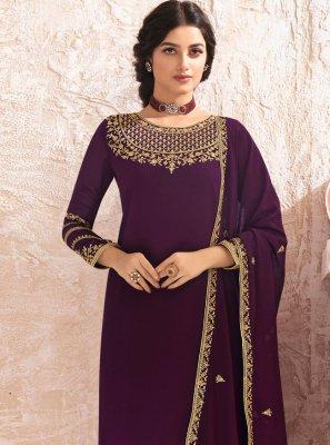 Purple Embroidered Faux Georgette Designer Pakistani Salwar Suit