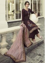 Purple Embroidered Festival Designer Pakistani Salwar Suit