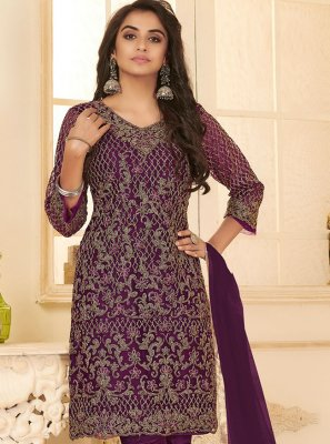 Purple Embroidered Net Pant Style Suit