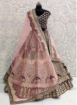Purple Embroidered Sangeet A Line Lehenga Choli