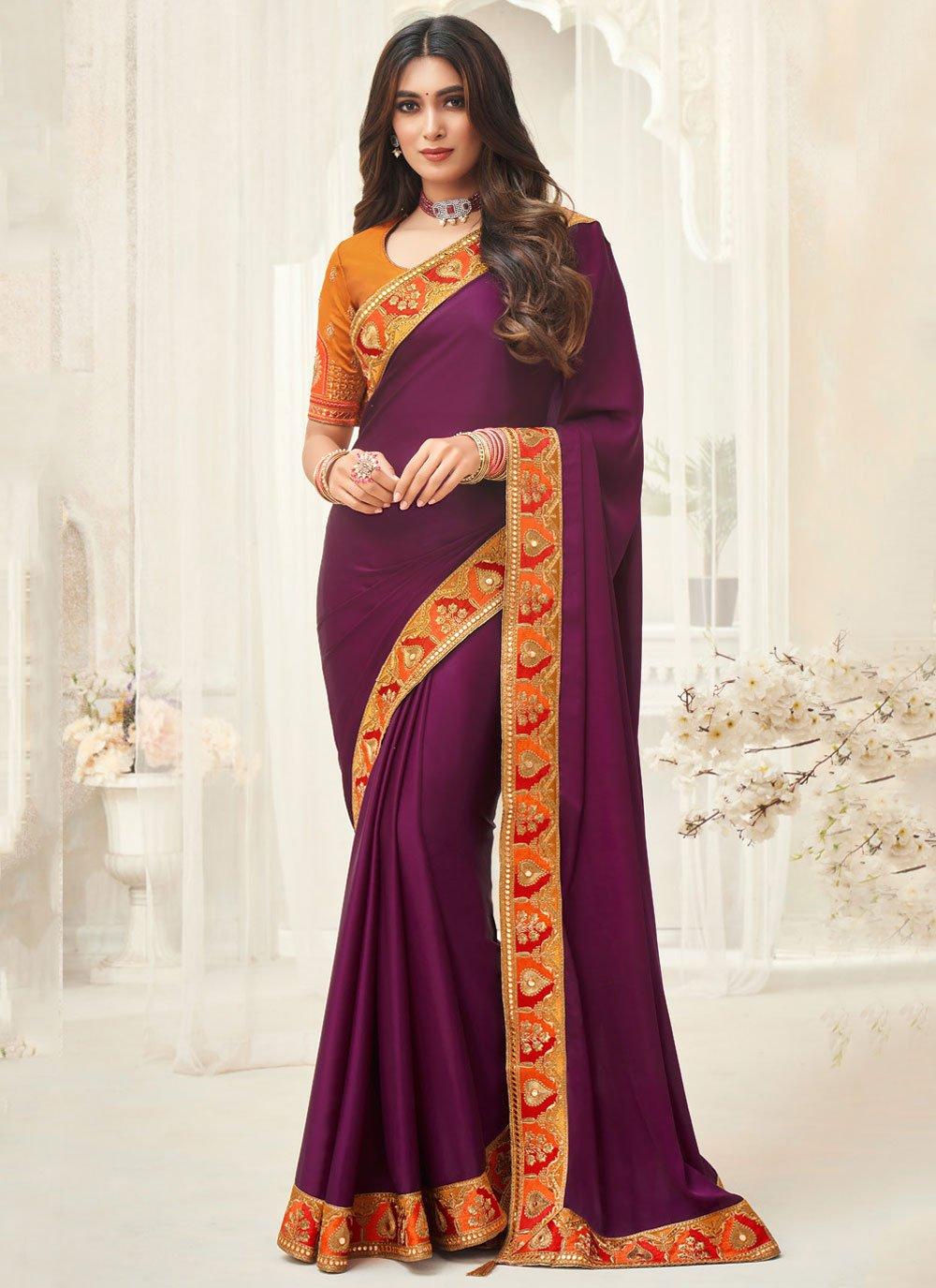 Purple Embroidered Silk Contemporary Saree