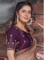 Purple Embroidered Tussar Silk Designer Saree