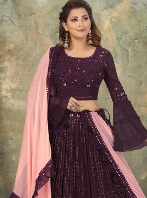 Purple Fancy Sangeet Readymade Lehenga Choli