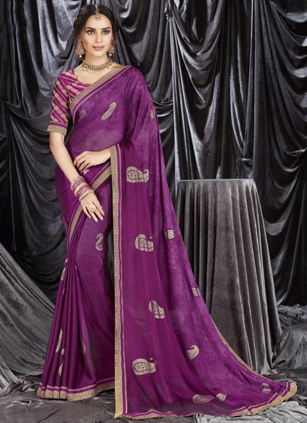 Purple Faux Georgette Classic Designer Saree