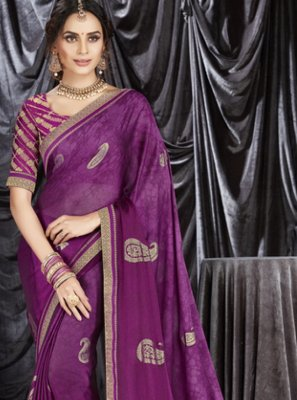 Purple Faux Georgette Classic Designer Saree