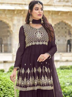 Purple Faux Georgette Festival Designer Pakistani Suit