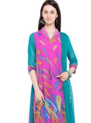 Purple Faux Georgette Readymade Churidar Salwar Kameez