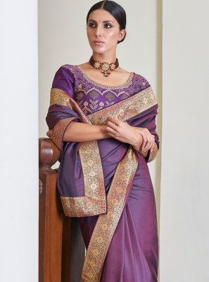Purple Festival Art Silk Traditional Designer Saree
