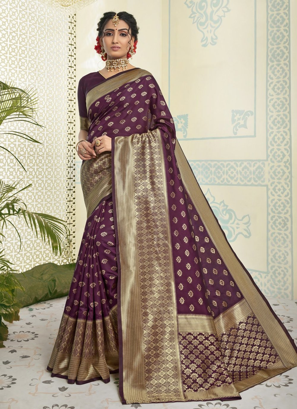 Purple Festival Art Silk Traditional Designer Saree