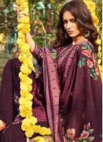 Purple Festival Cotton Designer Palazzo Salwar Kameez