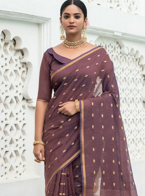 Purple Festival Cotton Traditional Saree
