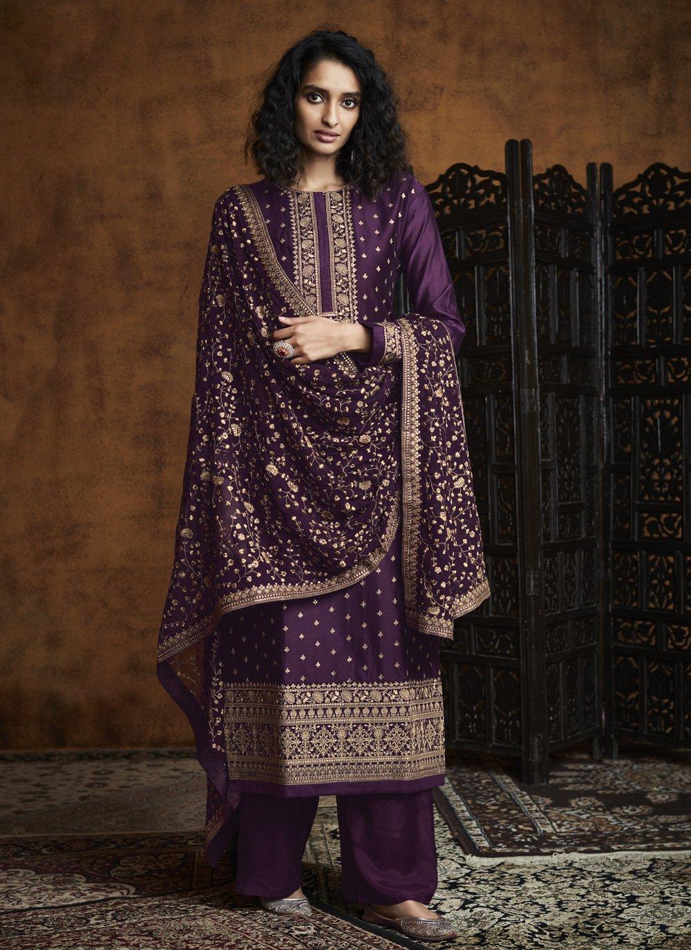 Purple Festival Designer Palazzo Suit
