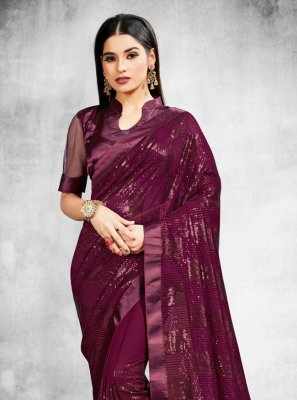 Purple Festival Faux Georgette Trendy Saree