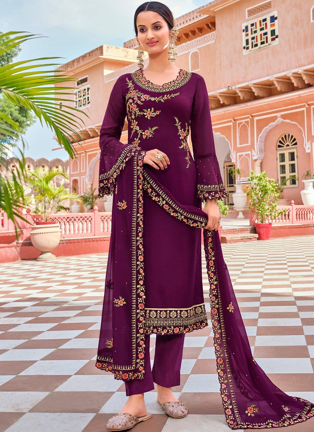 Purple Georgette Pant Style Suit